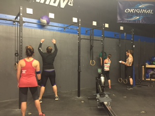 "TUESDAY 05APRIL16  Warm up 800m group jog  Warm up 30"" on 30"" off for 12 minutes jumping jacks mountain climbers push ups jump squats  Teams of 2 75 wall ball 60 cal row  45 burpee box jump 30/24 20 ring muscle ups 45 power clean 135/95 60 cal row 75 KBS 53/35  rest 5'-10'  4x3 BtN push press (keep good form)  Scales:  Muscle up:  L1: Bar muscle up  L2: 3 strict ring pull up + 3 ring dip(may use small red band only) x7  L3: 3 strict pull up + 3 Push up x7  L4: 3 ring row + 3 Box push up x7  Power clean: L1: 115/85 L2: 95/65 L3: 75/55 L4: 45/35  Weightlifting   Coaches Warm up  2 Clean pull+squat clean+split jerk  4x2 front squat from rack @90  4 sets of 8-10 renegade row  4 sets ME ring pull ups  scale-partner pull ups"