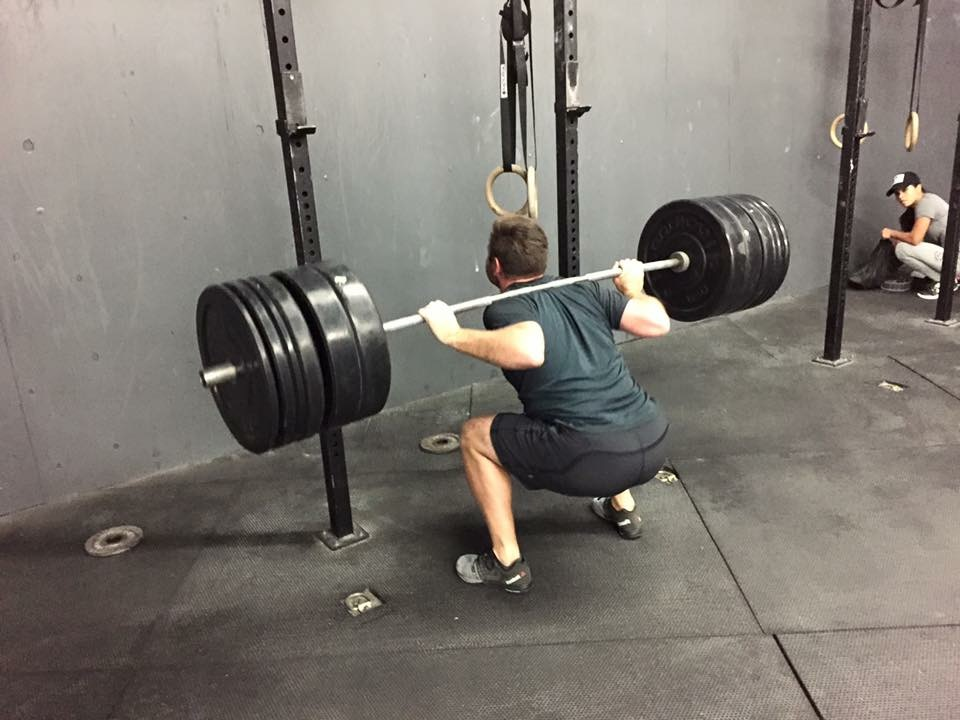 """MONDAY 04APRIL16  Warm up 5' jump rope  2 RNFT low dragon with a twist down inch worm with a push up back partner banded squats(5 above the knee + 5 around the ankle) 30"""" front rack stretch  strength 25' 5x2 anderson front squat  4 sets of 8 each leg Bulgarian split squat with DB/KB   accumulate 3:00 of a static wall sit @ parallel(8' time cap)  Conditioning(18' time cap) """"For time"""" 150 ft handstand walk 100 double unders 50 pistols  scales HS walk:  L1: 12 wall walks  L2: 50r ring push ups L3: 50 Hand release push ups  L4: 50 box push ups  Double under: 50 singles + 7 TNG tuck jump x3   pistols:  L1: Pistol with counter weight  L2: Pistol on a box  L3: Pistol with a band under your butt  L4: goblet squat"""