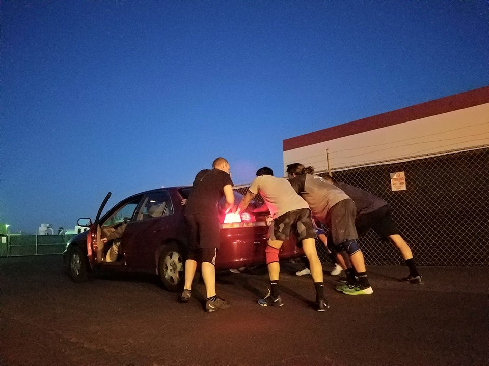 Post WOD car push for a cool down.