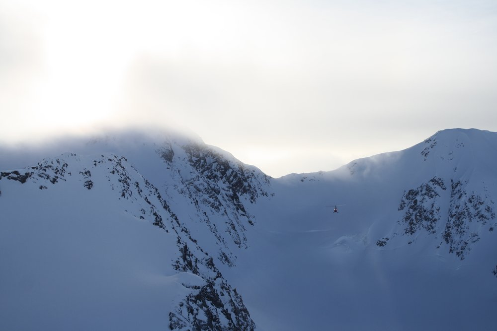 Coming Around to the Raven headwall.