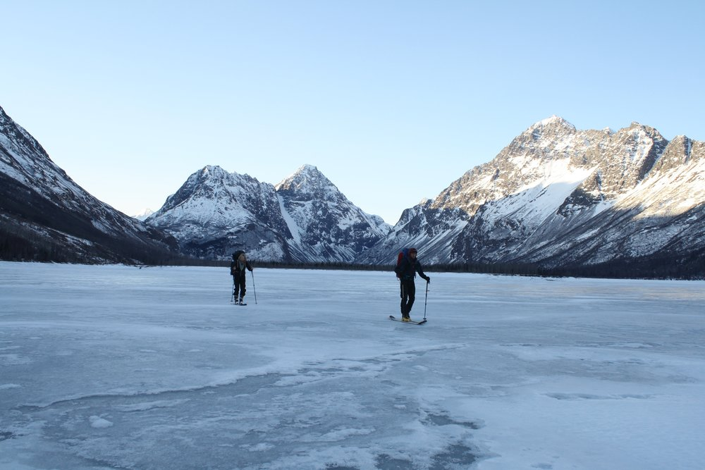 A frozen Eklutna Lake makes the exit out much quicker indeed!
