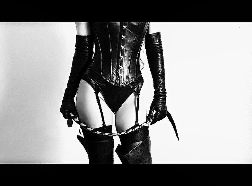 leather corset leather boots leather gloves