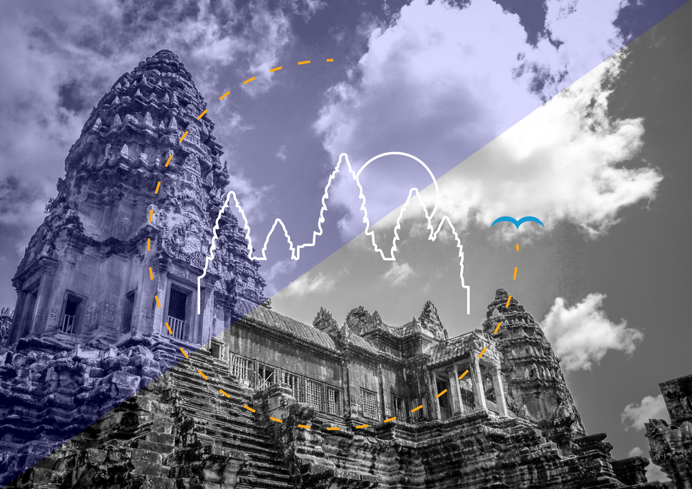 Cambodia    A Southeast Asian nation whose landscape spans low-lying plains, the Mekong Delta, mountains and Gulf of Thailand coastline. Its busy capital, Phnom Penh, is home to the art deco Central Market, glittering Royal Palace and the National Museum's historical and archaeological exhibits. In the country's northwest lie ruins of Angkor Wat, a massive stone temple complex built during the Khmer Empire.