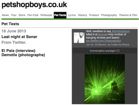 My picture and tweet from   Sónar, which they posted on their website.