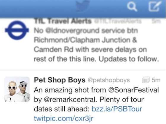 Pet Shop Boys promoting my Sónar picture via Twitter.