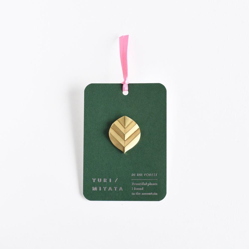 【Brooch】Leaf / Stripe L brass - ¥4,860 (税込)