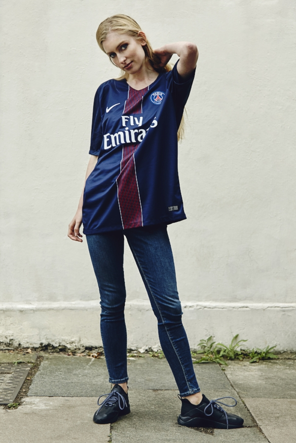 Zoe: Nike PSG jersey, Topshop jeans, Nike Beautiful x Air Huarache Ultra Premium trainers, ropeslaces.com laces