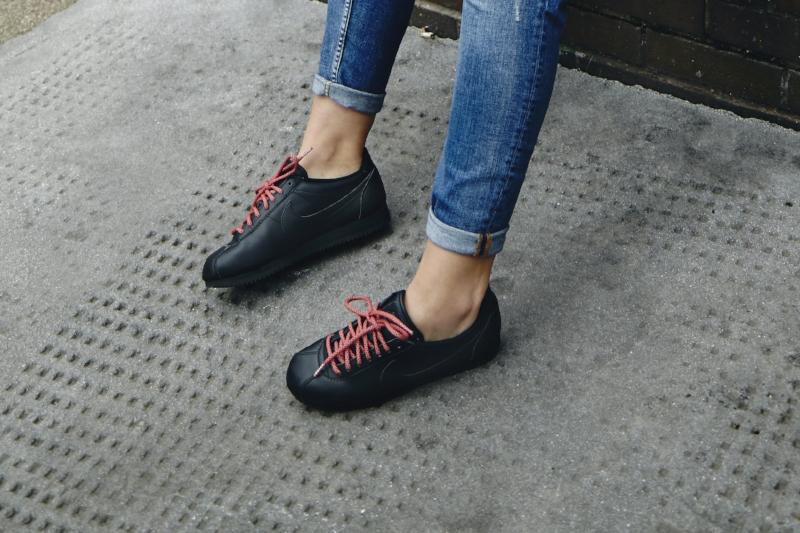 Sarah: H&M jeans, Nike Beautiful x Classic Cortez Premium trainers, ropeslaces.com laces