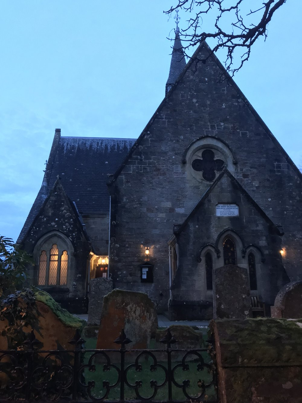 The Shores of Loch Lomond & Luss Church at twilight.