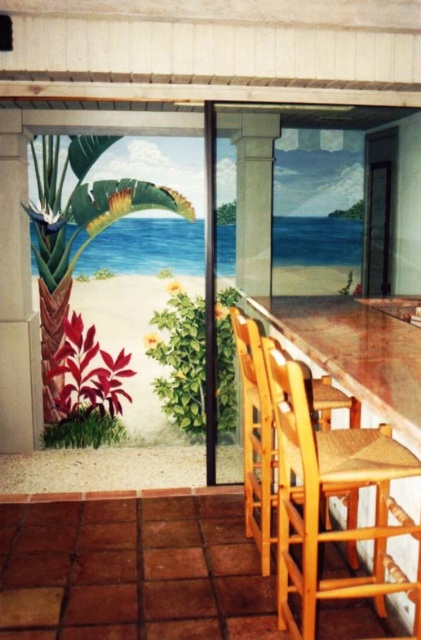 Tropical Trompe L'oeil mural at Ocean Reef Club, Key Largo