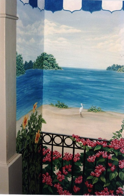 Tropical Trompe L'oeil mural at Ocean reef Club