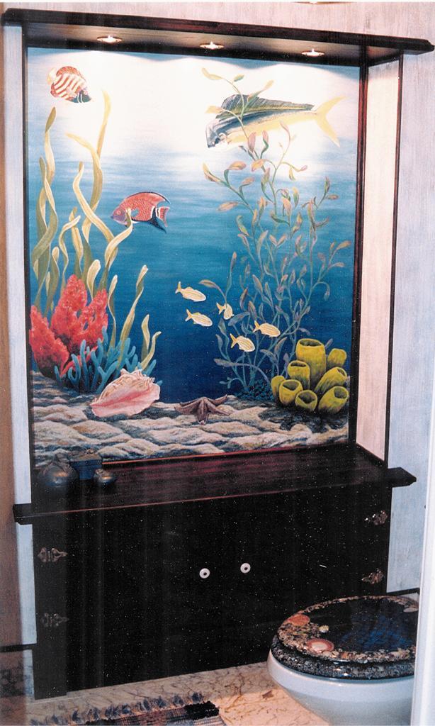 fish aquarium trompe l'oeil mural boca raton, ocean reef club