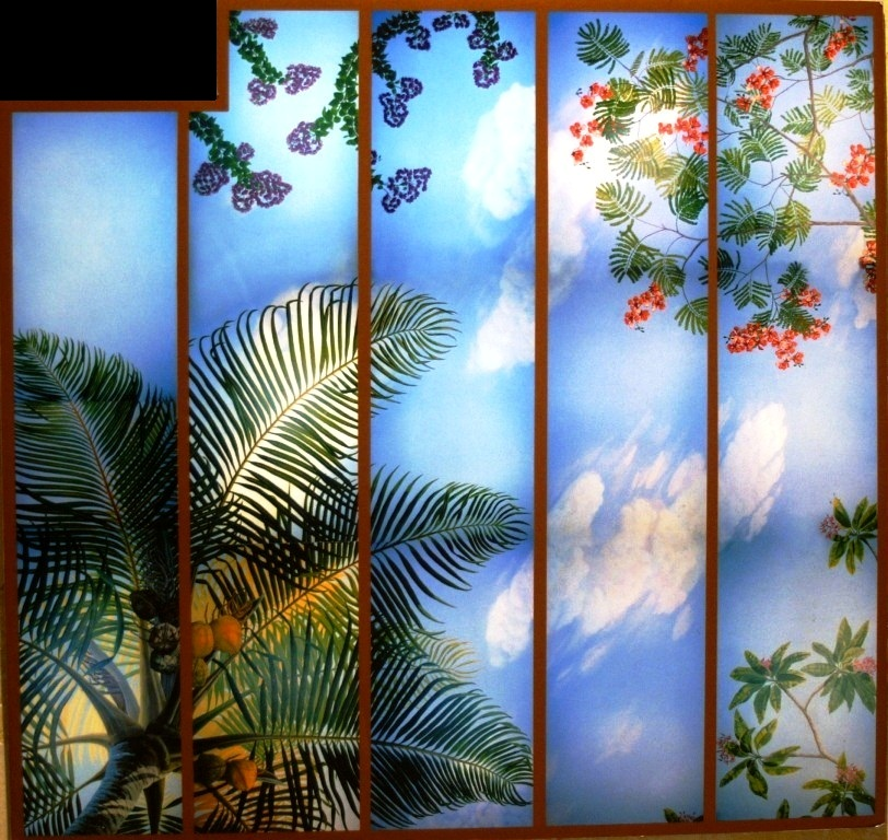 interior design with tropical murals in Boca Raton