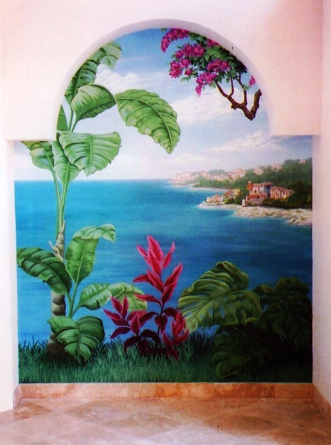 Interior design using tropical murals in Parkland