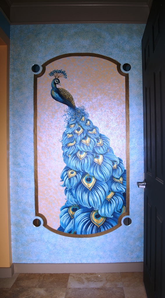 Interior design with Peacock mural in Parkland, Broward county