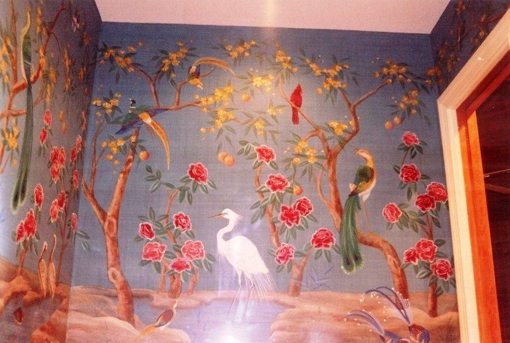 Interior Design using bird murals in Boca Raton, Palm Beach County