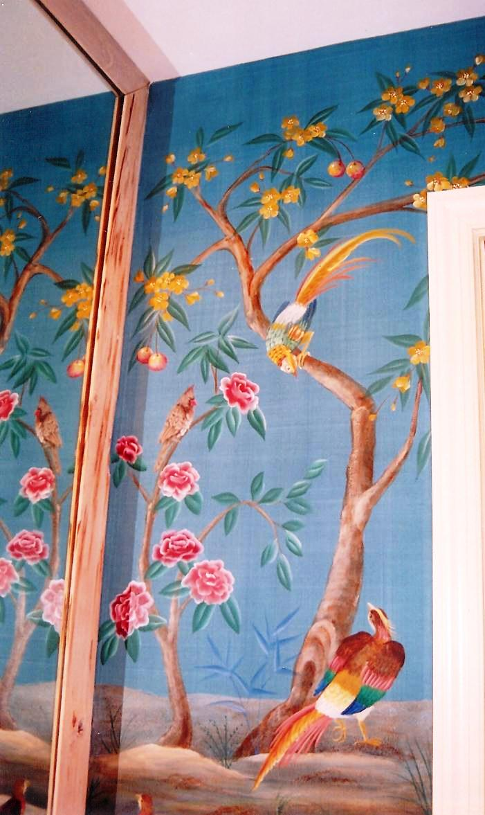 Interior Design with Bird mural in Boca Raton, Plam Beach county