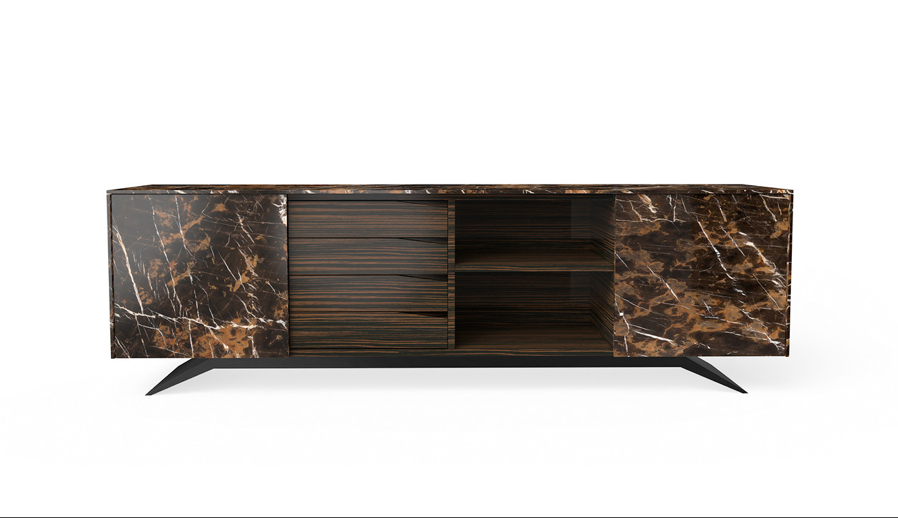 Trigono Sideboard in Black Gold Marble and Ebony wood