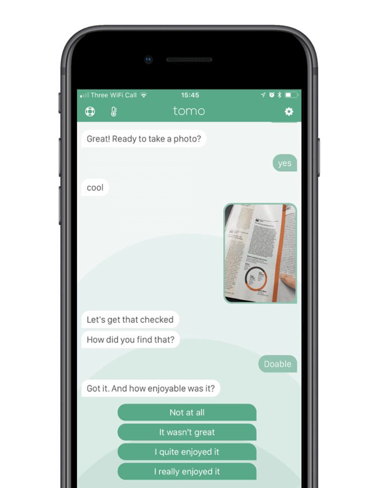 The App - Tomo is a helpful bot that lives on your phone. It helps you turn activities into habits that improve your life.