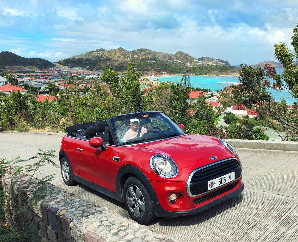 We rented this hot little Mini Roadster from  Sixt St. Barth . I'll admit it was a splurge at $750 for the week, but we saved SO MUCH on acommodation this year that we treated ourselves. The result was spending more time in the car exploring in the open air. It was well worth the investment! In the past we rented the cheapest car we could find through other agencies. The cars had major problems and the customer service was awful. Sixt made it so easy and their service came with free smiles!