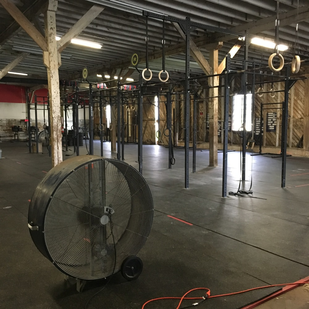 From inside CrossFit NoLa 504. My best friend for the day: the giant fan.