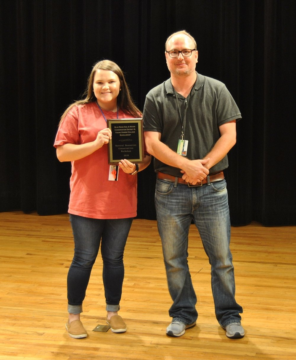 The winner of Blue Ridge Mountain Soil & Water Conservation Districts $1200 scholarship was Emily Owenby! Emily resides in Blairsville, GA and is an upcoming senior at Union County High School! Pictured with Emily is NRCW Director, Luke Crosson.