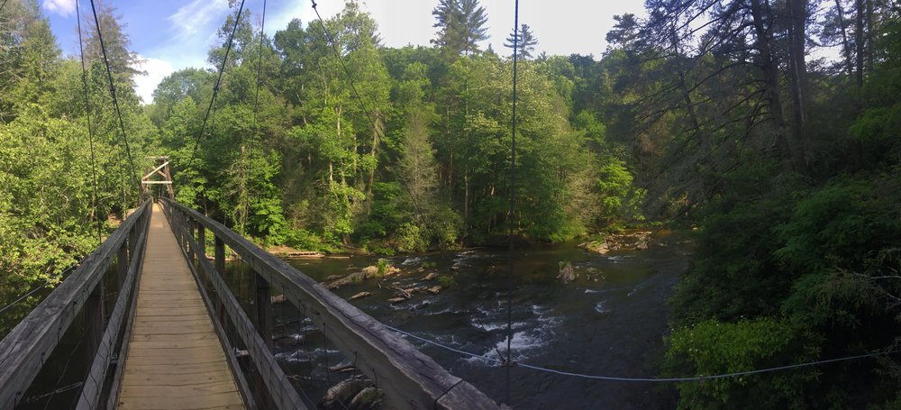 The Swinging Bridge in Suches, Georgia. Photo taken by Irenee Payne.
