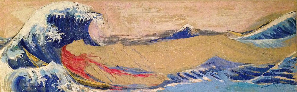 Waves of Life Acrylic on Silk 96 in x 30 in