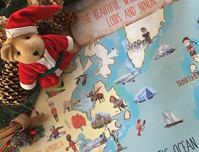 Merry Christmas from our little family to yours! 🎅🏻🎄🇨🇦 Thank you to everyone who gifted our map for the occasion. Hope your little ones enjoy it! #theyellowtoucan #merrychristmas #santasjourney #aroundtheworld