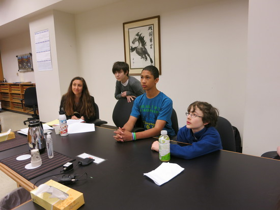 Attorney Andrea Rodgers with youth plaintiffs, Zoe Foster, Aji Piper, and Gabe Mandell, waiting for the judge's decision in King County Superior Court.