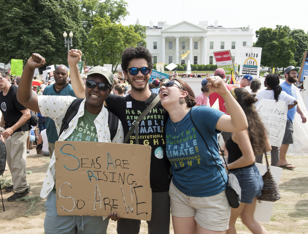 Kiran at the White House with Victoria and Kelsey, at end of the People's Climate March, April 29, 2017. Photo: Robin Loznak