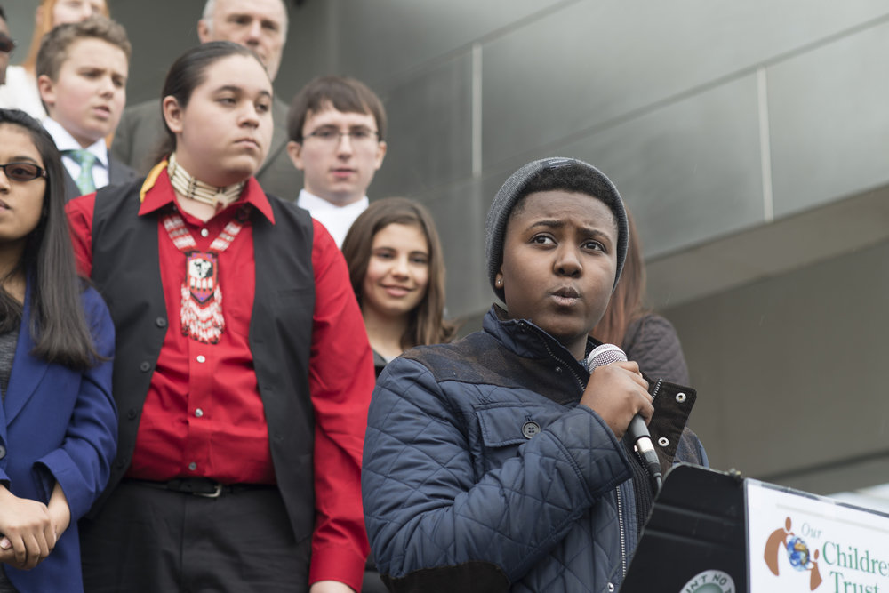 Victoria speaks outside the U.S. Federal Court in Eugene, OR. Photo:  -amw, Flickr
