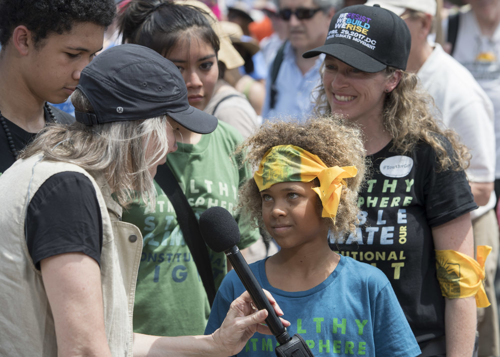 Levi being interviewed by Amy Goodman of Democracy Now! at the People's Climate March in Washington D.C., April 29, 2017. Photo: Robin Loznak