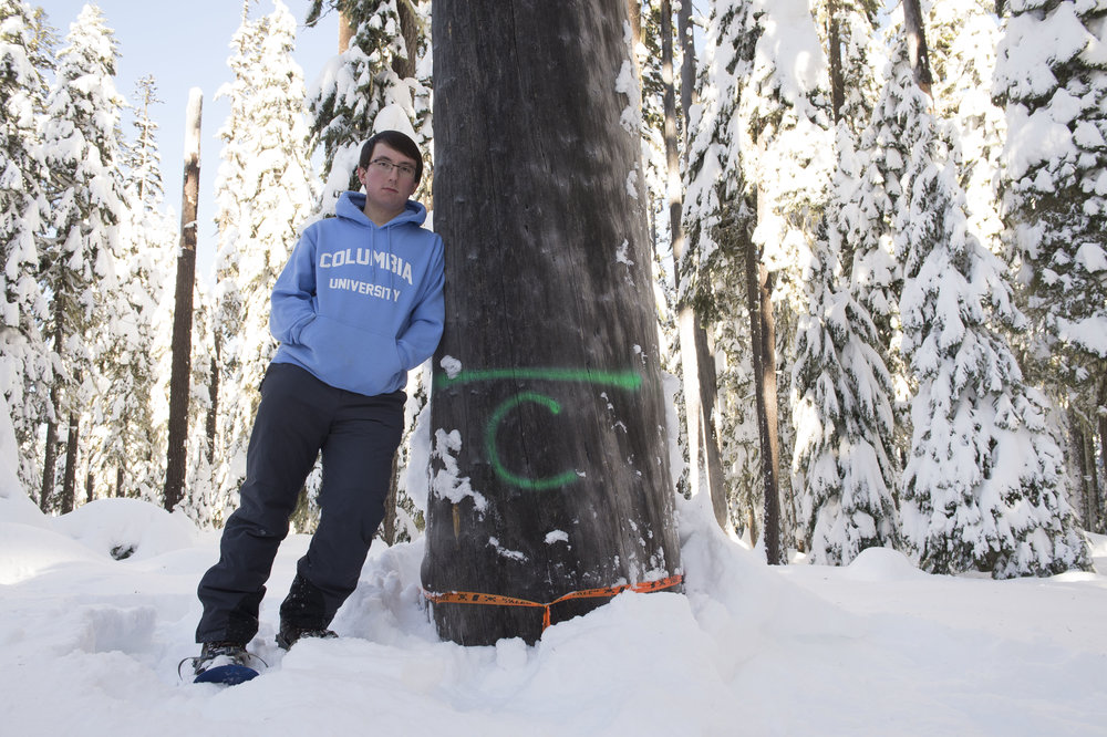 Alex with a tree marked for cutting for the Pacific Connector natural gas pipeline. Photo: Robin Loznak