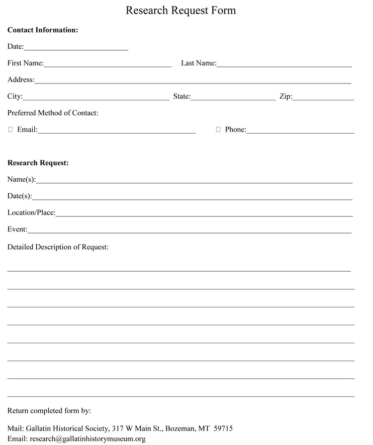 Printable Research Request Form Gallatin History Museum – Request Form