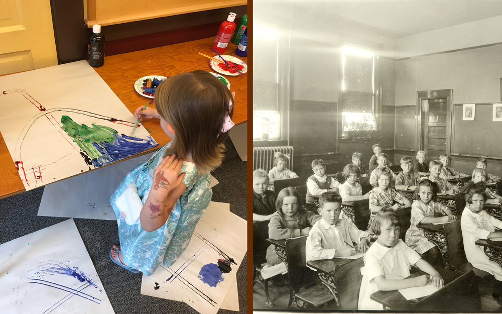 A young visitor creates artwork during the Young History Explorers program (left)  First grade students in an old Bozeman classroom (right)