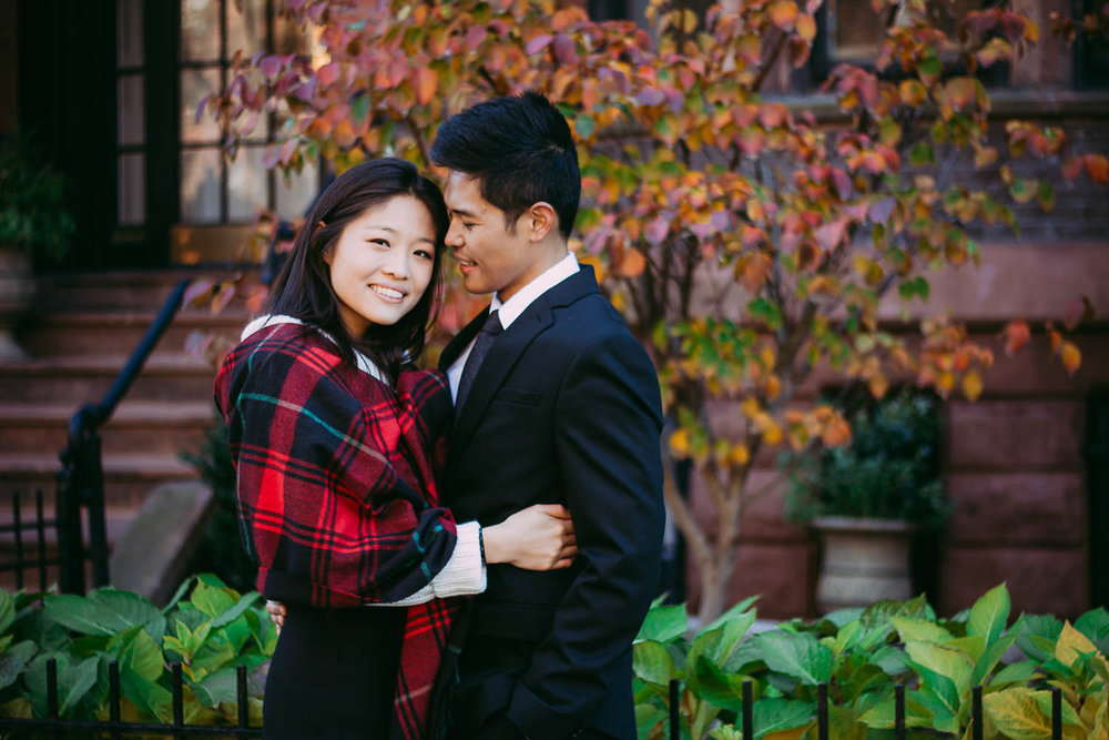 Winter Boston couple engagement photography on Commonwealth ave.