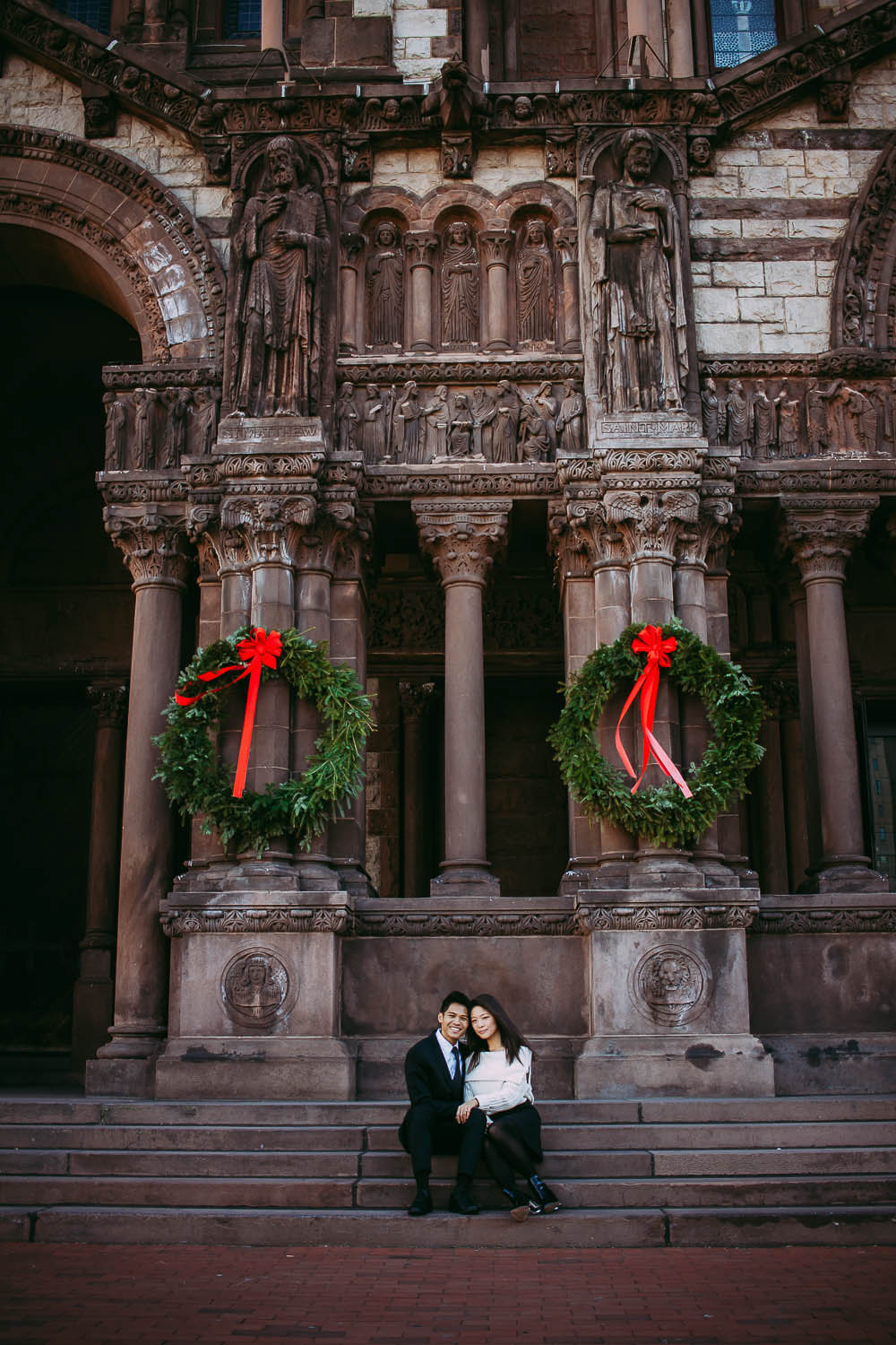 Trinity Church Holiday Engagement Photography in Boston.
