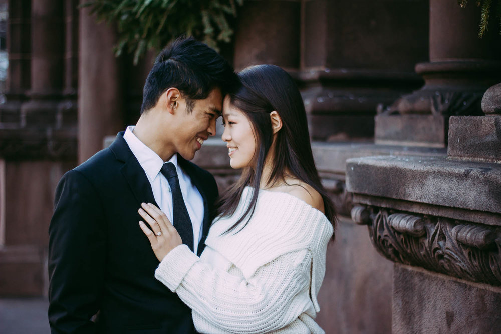 Romantic engagement photography at Trinity Church in Boston