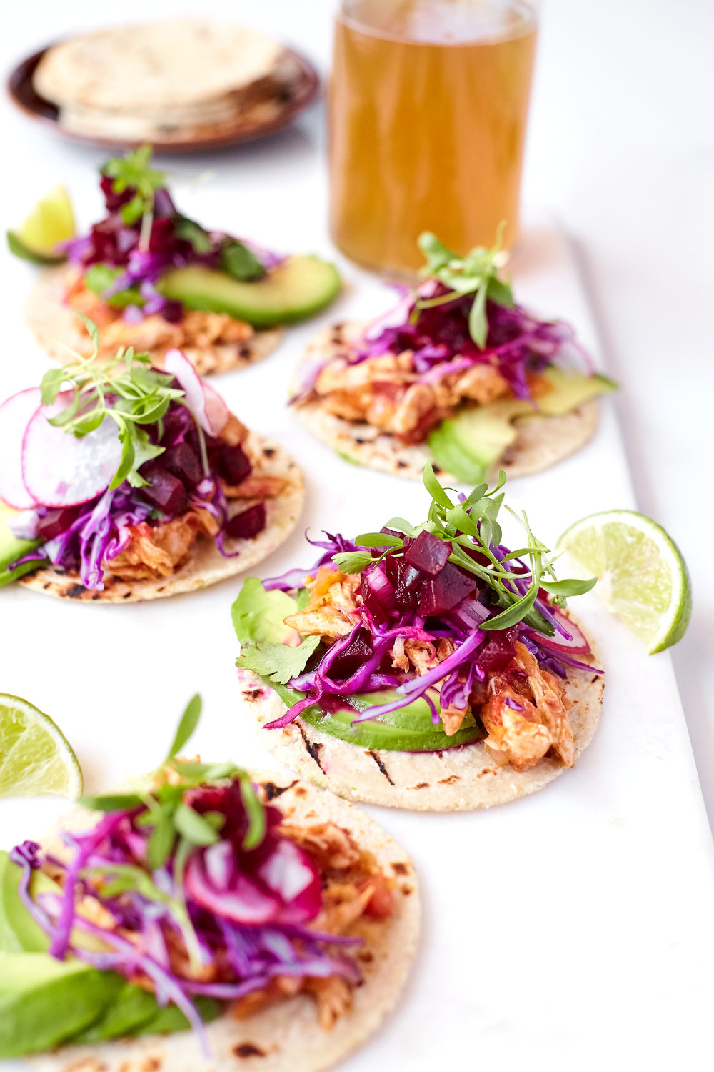 CHICKEN STREET TACOS WITH BEET SALSA