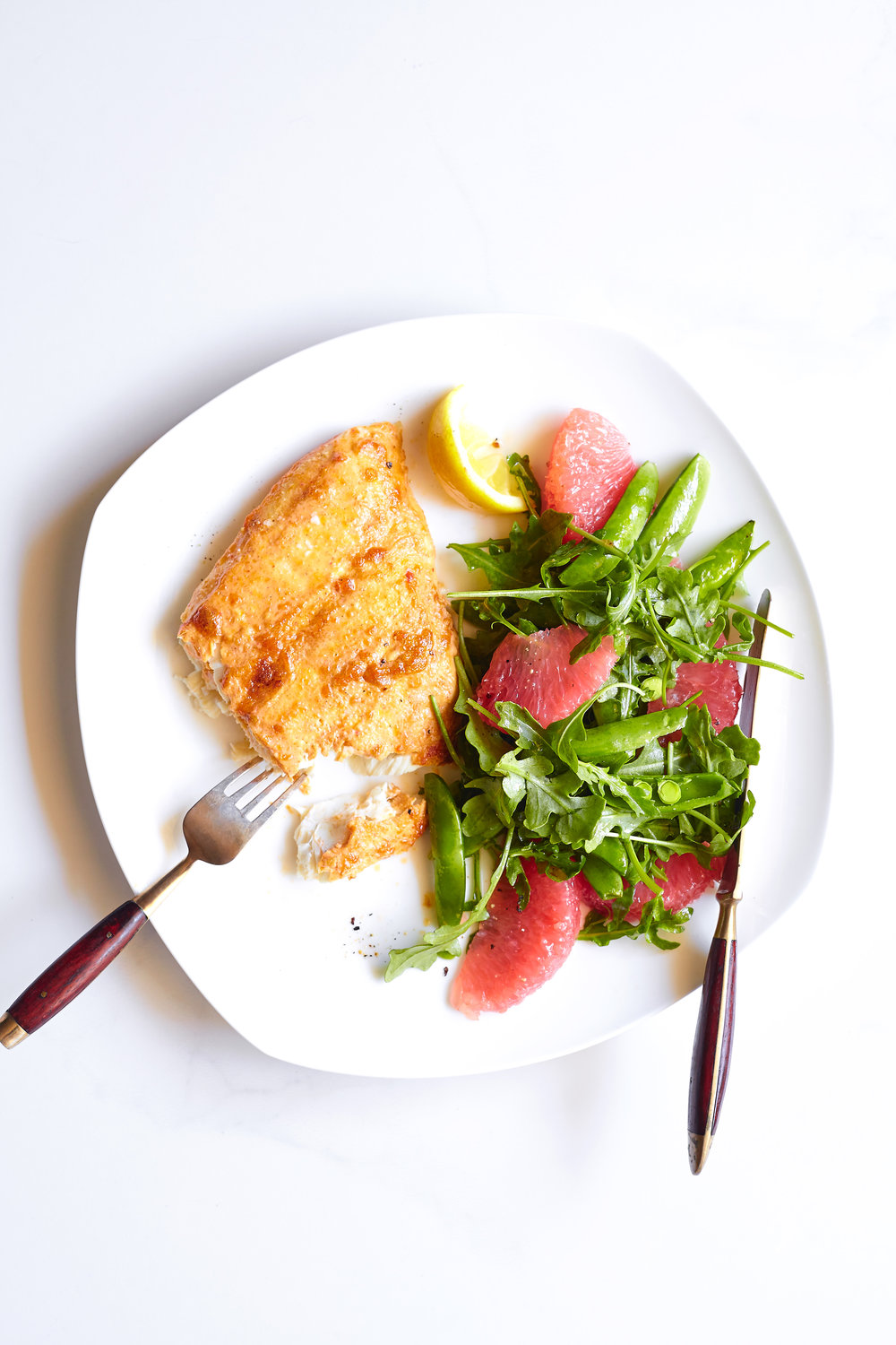 HARISSA HALIBUT WITH GRAPEFRUIT SNAP PEA SALAD