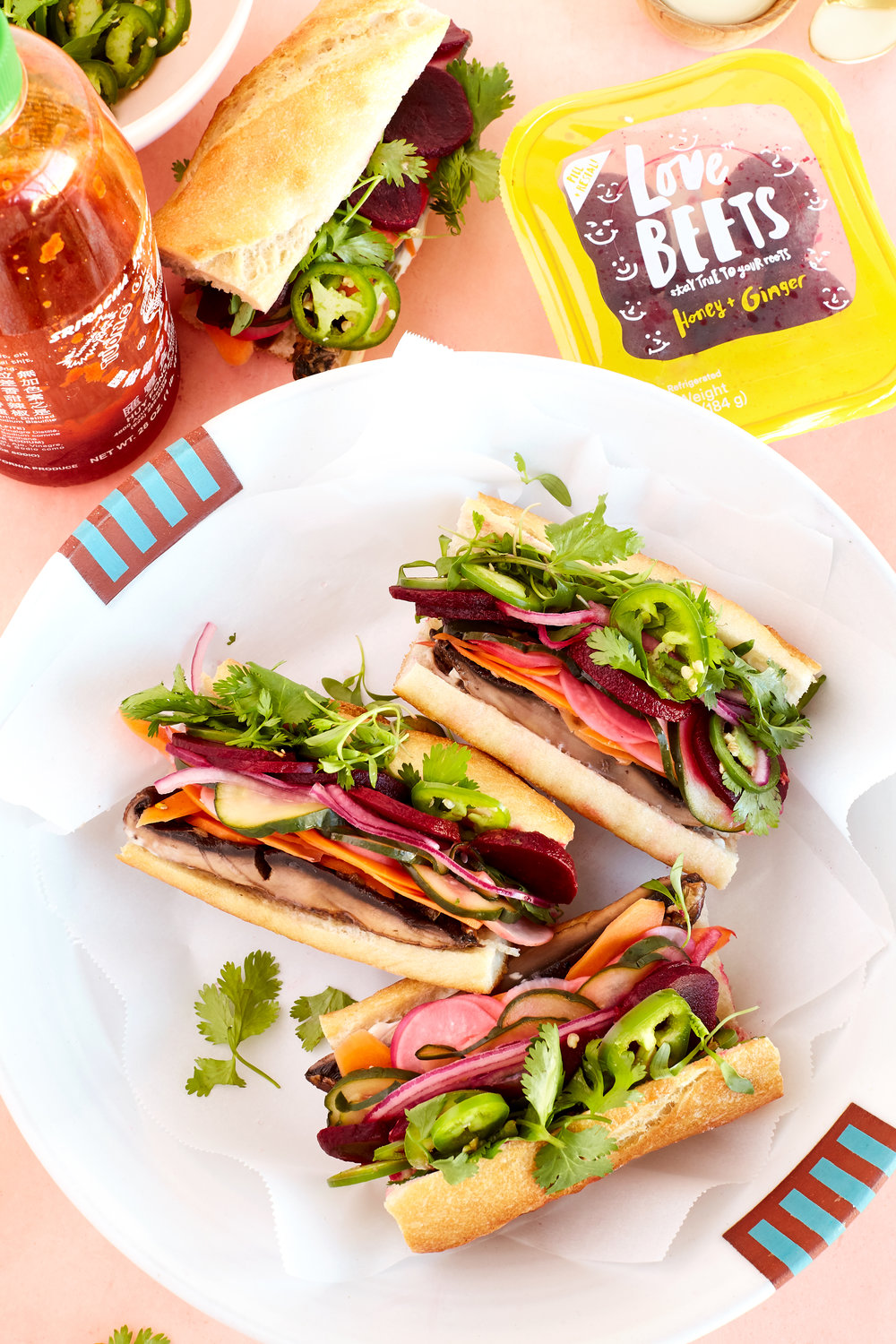HONEY + GINGER BEET AND TAMARI ROASTED PORTOBELLO BAHN MI SANDWICHES