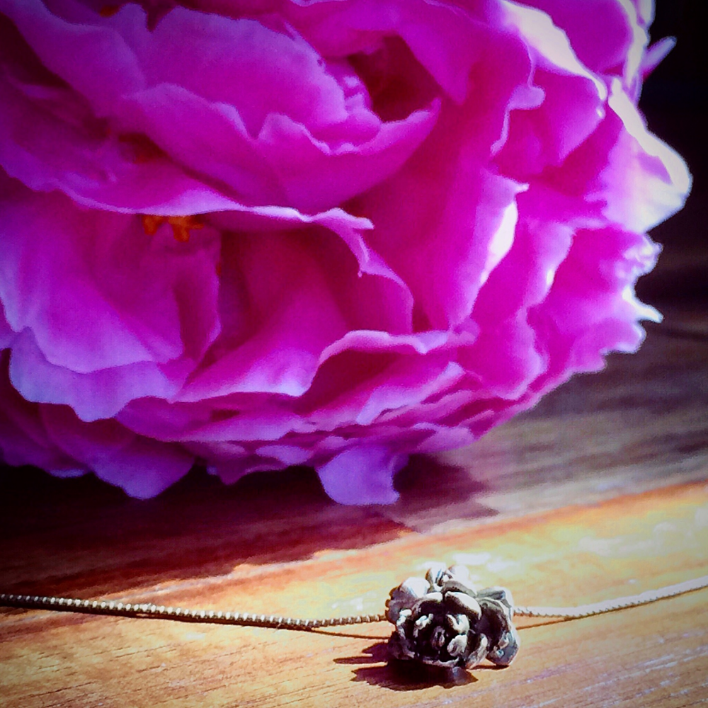 lovely peony necklace from my love and lovely peony flower from trader joe's