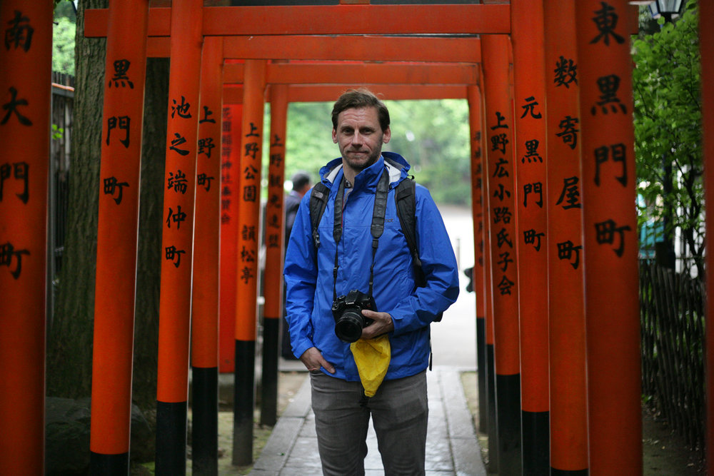 Andy amidst the many temple gates of Japan.