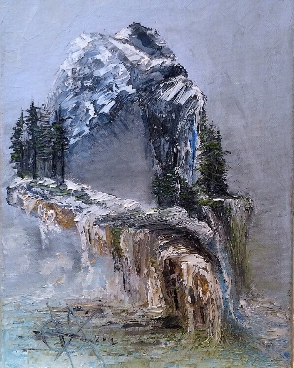 Troll Falls by Mariam Qureshi  Oil Painting 2014 9x12
