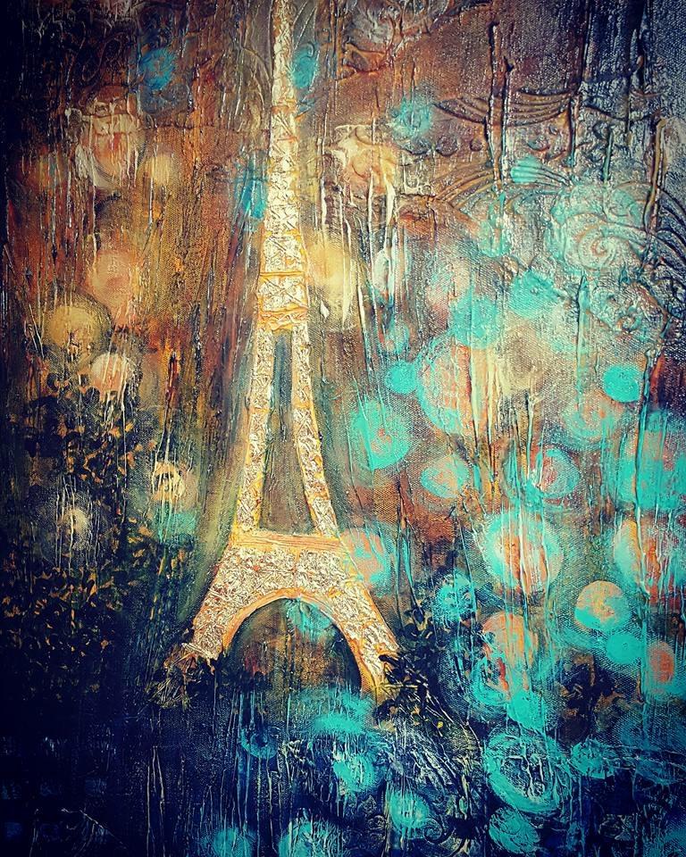 Paris, mix media by Janis Galarneau
