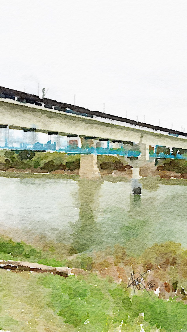 LRT Bridge, watercolor PrintOnly by Mariam Qureshi - Any rectangular shape can be available the price listed is for an 8x10 print. If you need a different size, please contact us.