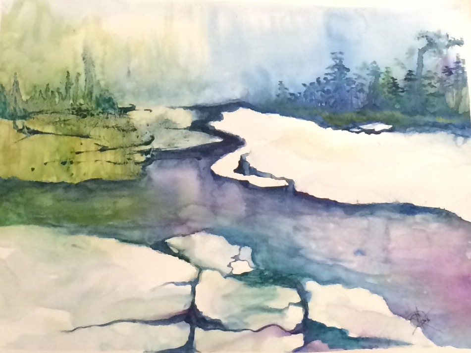 Icy break-away stream, water color by Mariam Qureshi