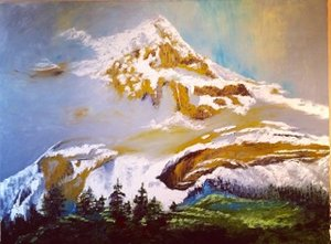 Mountains play Trix, Oil by Mariam Qureshi