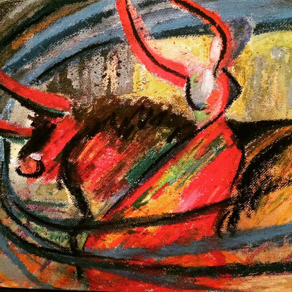 Taureau me, oil pastels by Mariam Qureshi